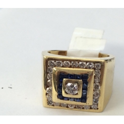 R#186 14k yellow gold Fashion Ring (Blue Sapphires & Diamonds)